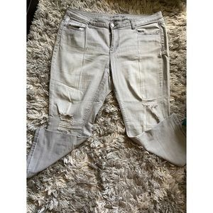 Lane Bryant Light Grey Distressed Capri Jeans